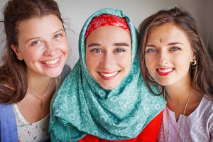 friendship of the religions concept: muslim and jewish girls